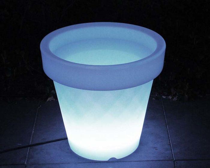 Bloempot wit verlicht LED groot - Riwojo Verhuur