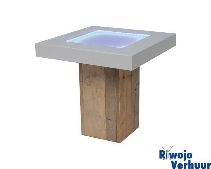 Tafel steigerhout met wit blad incl. LED verlichting 80x80 cm ...